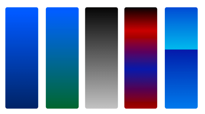 Different types of gradient
