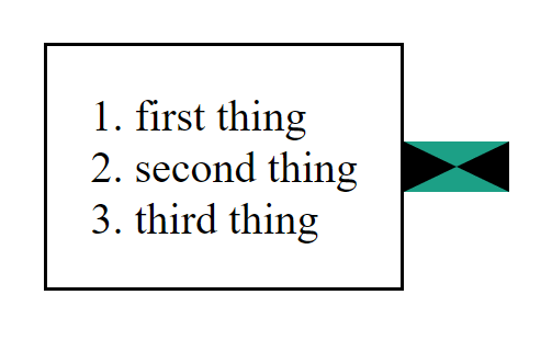 A rectangle with a black and green arrow