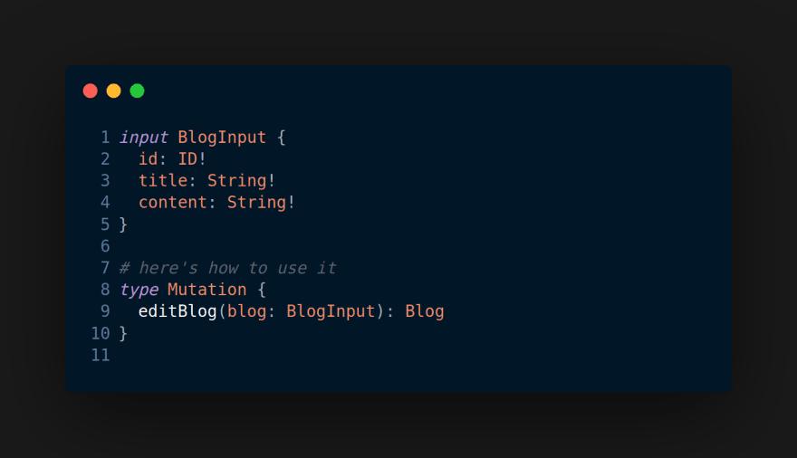 GraphQL Input type