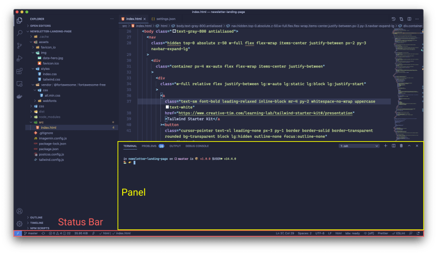 vs code user interface with panel and status bar highlighted