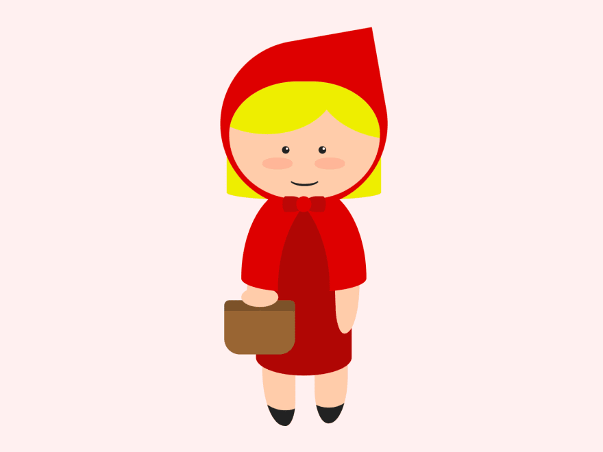 Cartoon of a girl wearing a red dress and hood, and holding a basket