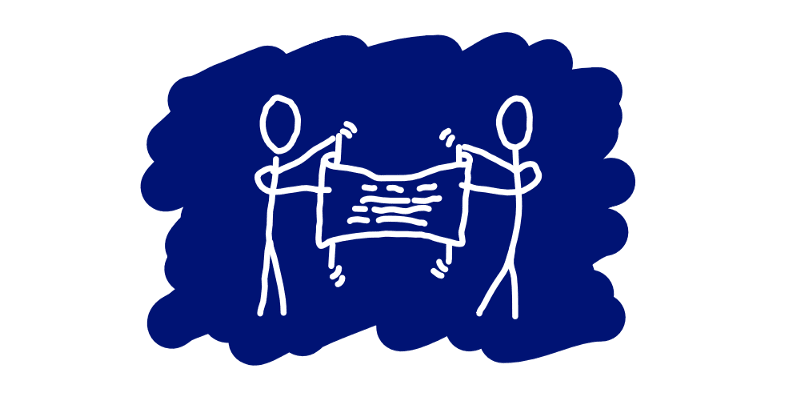 Two opposing stick figures that are trying to stretch a scroll.