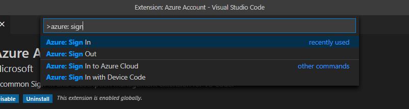 Azure Login From VSCode