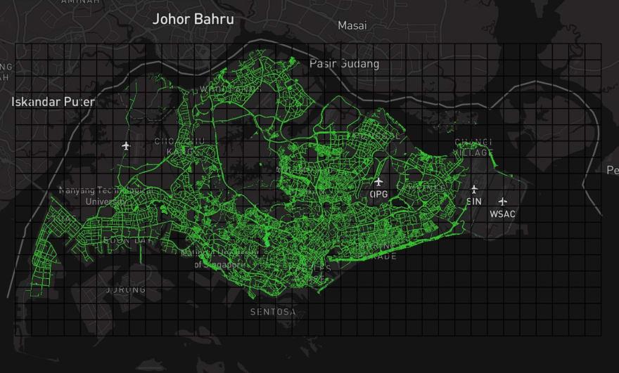 The new square grids around Singapore boundary