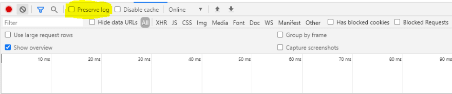 Picture of preserve log in the Network Tab of Chrome Developer Tools