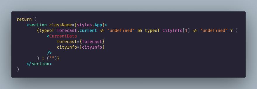 App.js return statement code