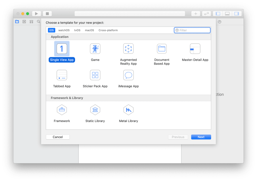 Screenshot shows a single view app being created on Xcode 11