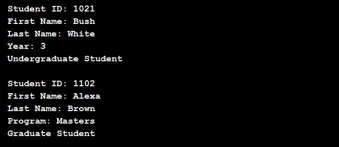 StudentTest.java output