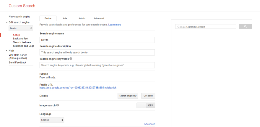 Create custom Google search engine for your domain(s) and fetch