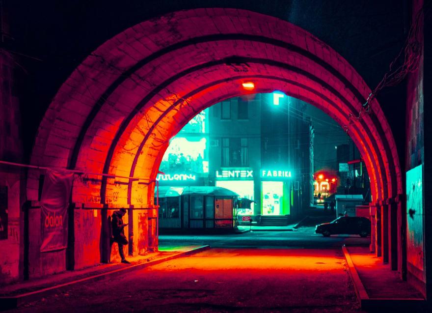 Image of neon underpass