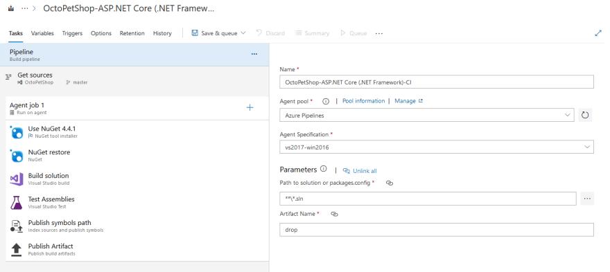 Screenshot showing an Azure DevOps Build Pipeline with standard steps configured