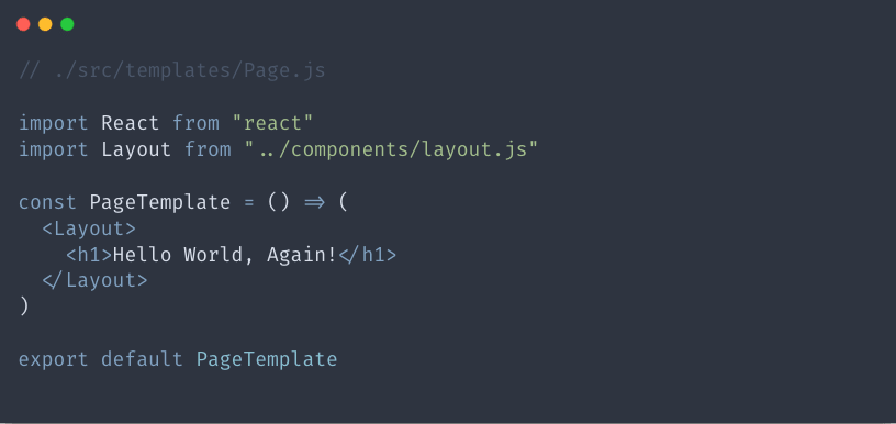 Basic page template code