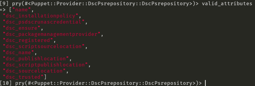 Printing the value of the valid_attributes variable in pry