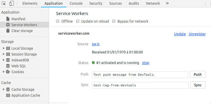 DevTools Service Worker