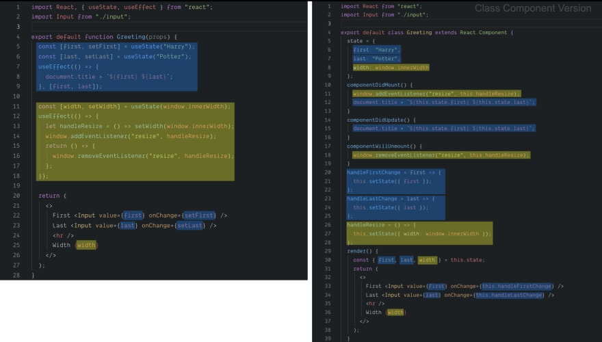 Example showing the code groupings of functional components with hooks, vs class components