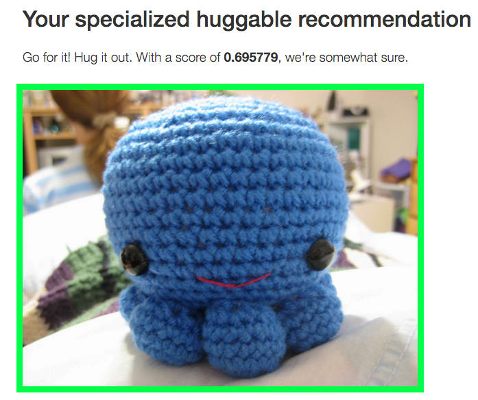 a screenshot of a stuffed octopus which shows that has a .696 huggability rating