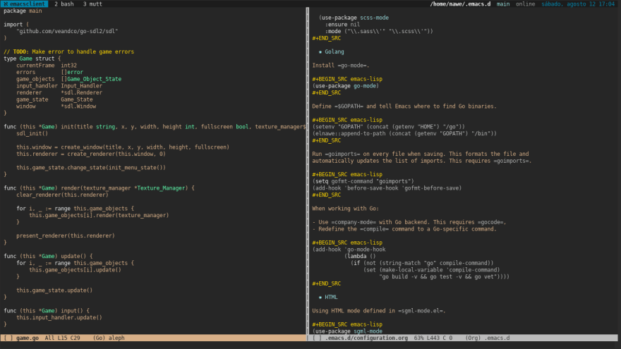 Current Emacs state (with a little bit of Go code)