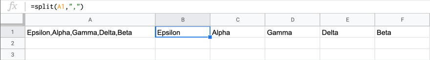 a spreadsheet with a split formula splitting 5 words into separate cells inside a row.