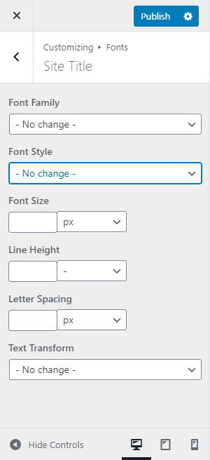 Font or Typography section allows you to change font styles, family fonts, text size, etc.
