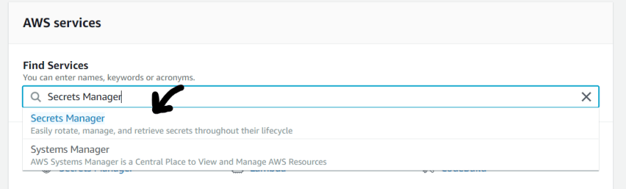 AWS Search SecretsManager
