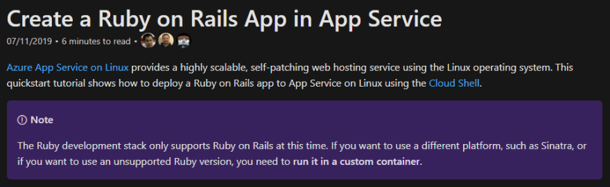 Ruby App Service Docs