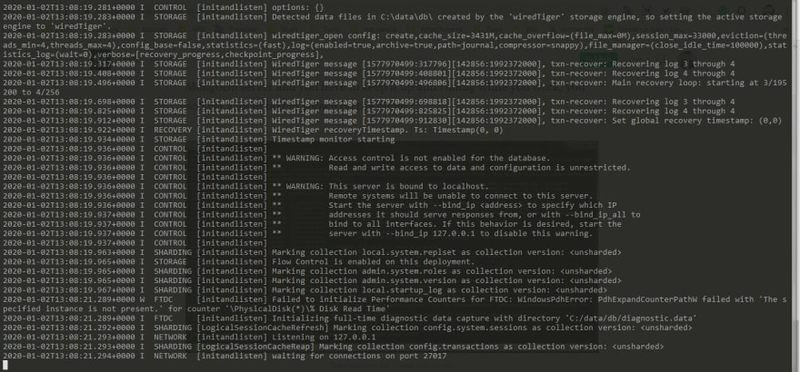 terminal after you type mongod indicates that mongoDb server is up and running<br>