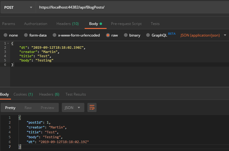 Postman API POST request with body result