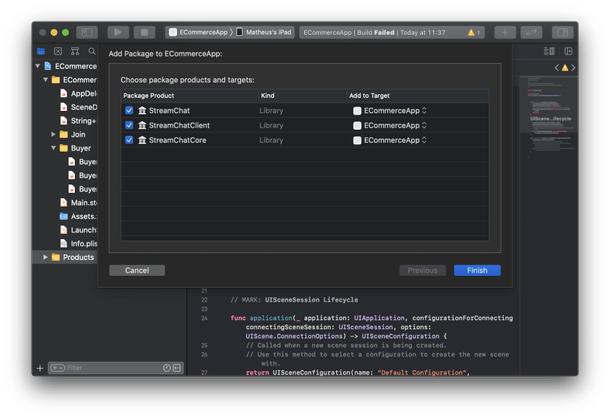 Screenshot shows an Xcode screen with dependency targets to be selected