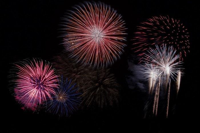 Image of fireworks against a black sky.