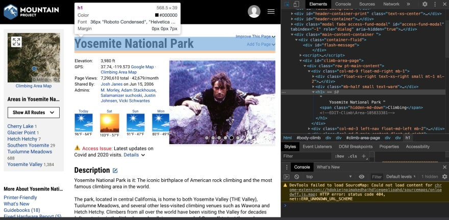 Mountain Project's Yosemite page with corresponding HTML