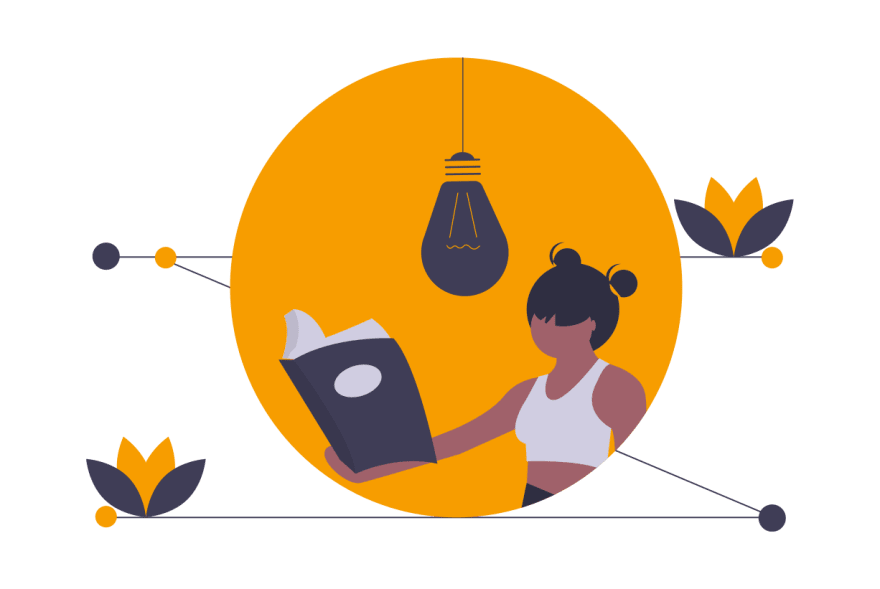 illustration of person learning by reading