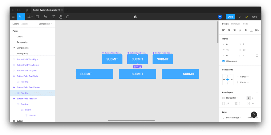 Screenshot of Figma app with 3 button components, and an instance of each stretched out to display fluidity and alignment