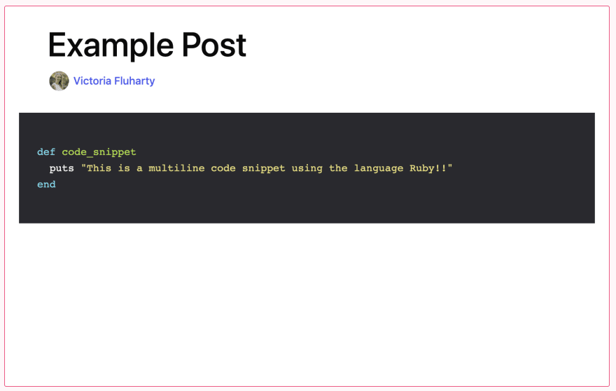 example of using a multiline code snippet with Ruby displayed in preview mode