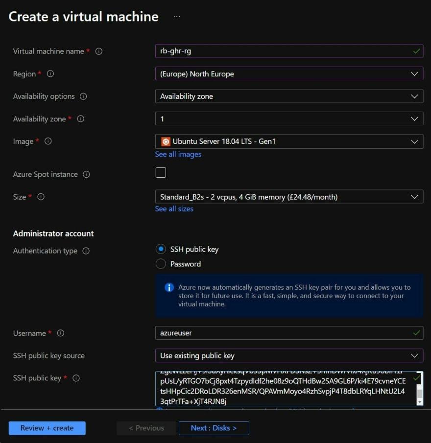 Screenshot showing the initial Virtual Machine creation blade in the Azure Portal