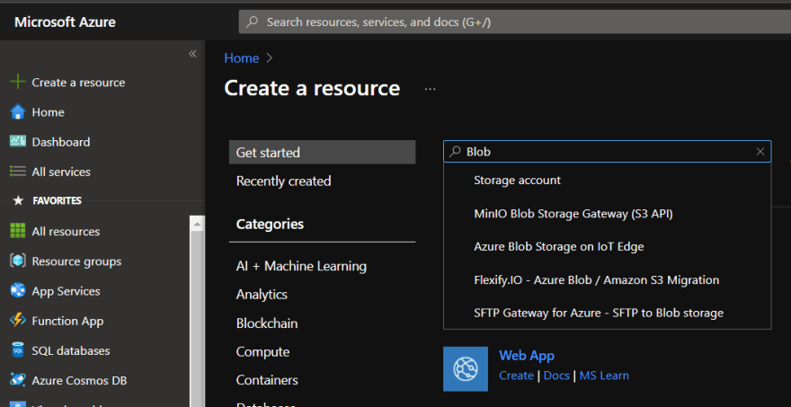 Resource Creating page in Azure