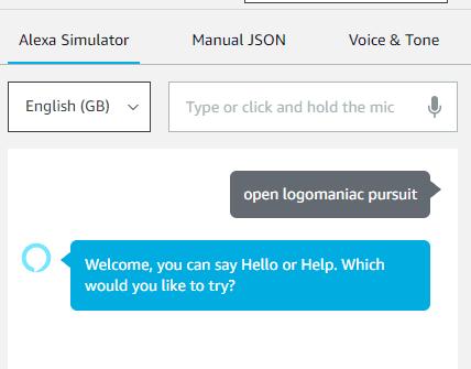 Saying to Alexa open logomaniac pursuit