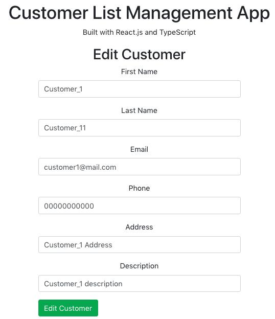 Edit customer page