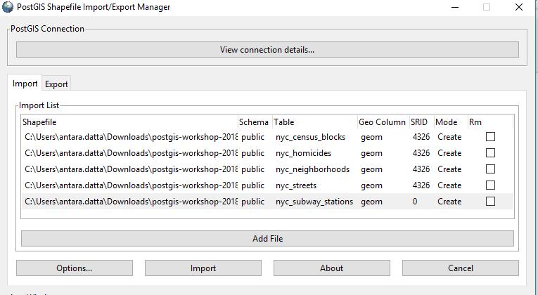 load data into postgis
