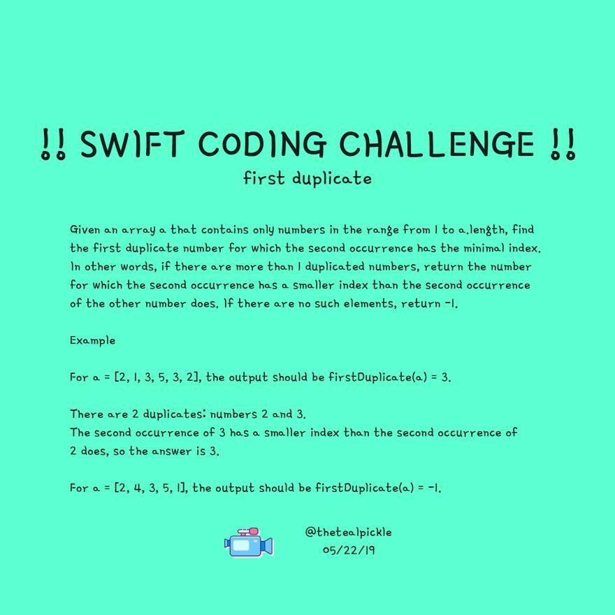 First Duplicate!!Swift Coding Challenge!! - DEV Community
