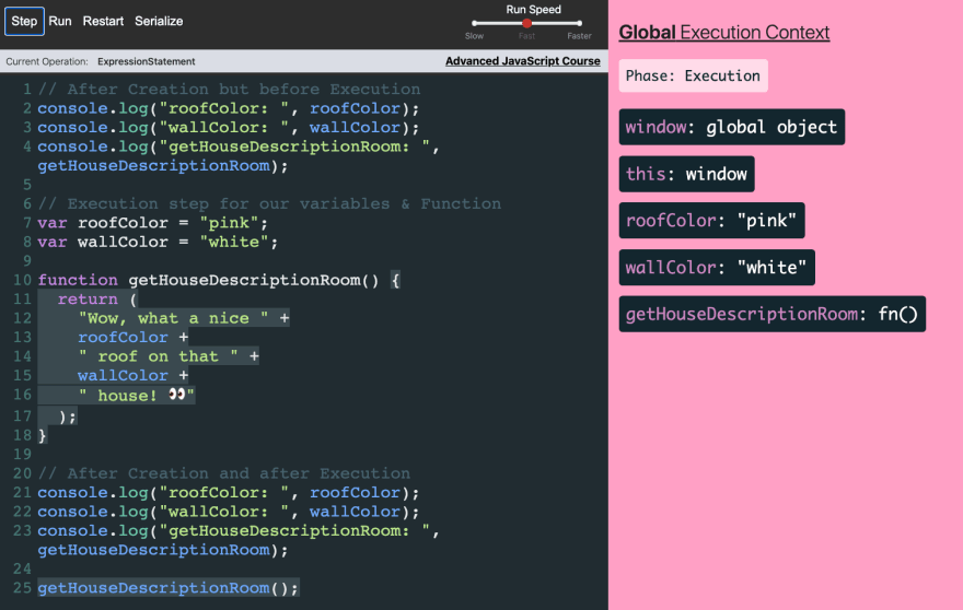 During Global Execution Phase Before `getHouseDescriptionRoom` is invoked roofColor and wallColor are undefined