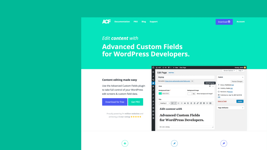 The Advanced Custom Fields website.