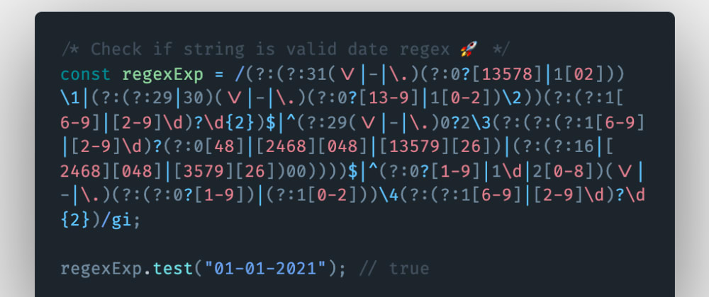 Cover image for How to check if a string is a valid date using regular expression or regex in JavaScript?