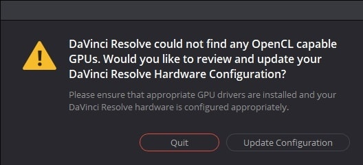 Error OpenCL GPU for DaVinci Resolve 16