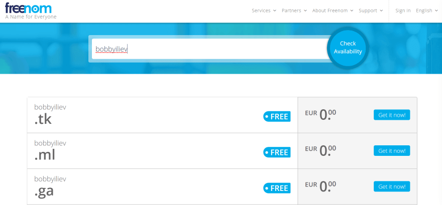 Freenom free domain name for your website