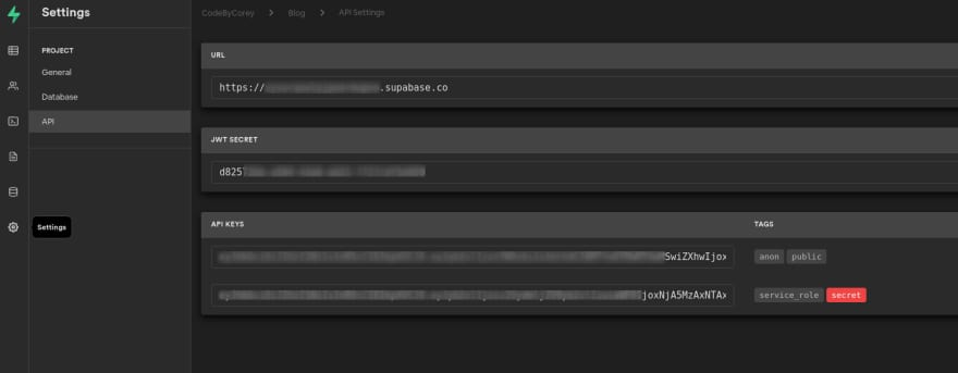 API Keys screenshot