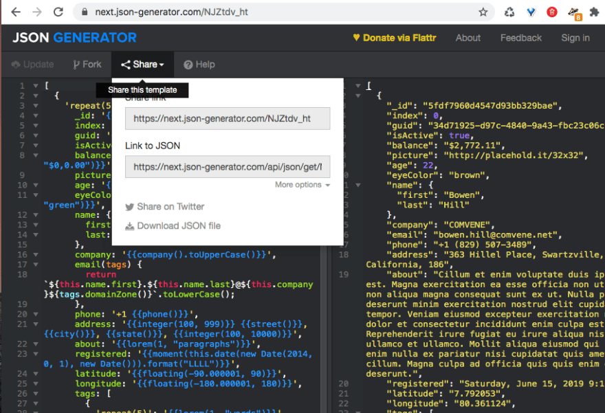 json generator screenshot