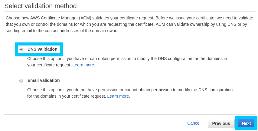 AWS Certificate Manager domain validation