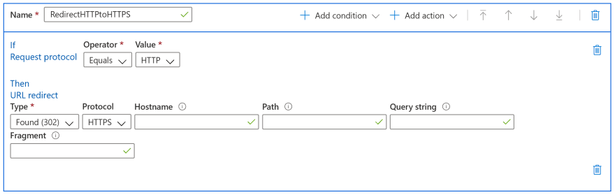 Screenshot of settings for redirecting http to https in Azure CDN