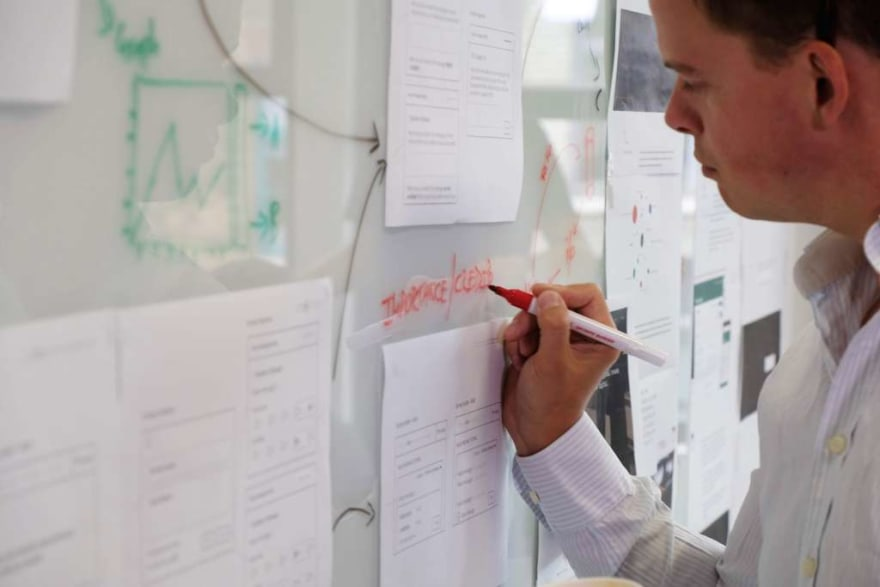 A person maps out a user journey during a group exercise