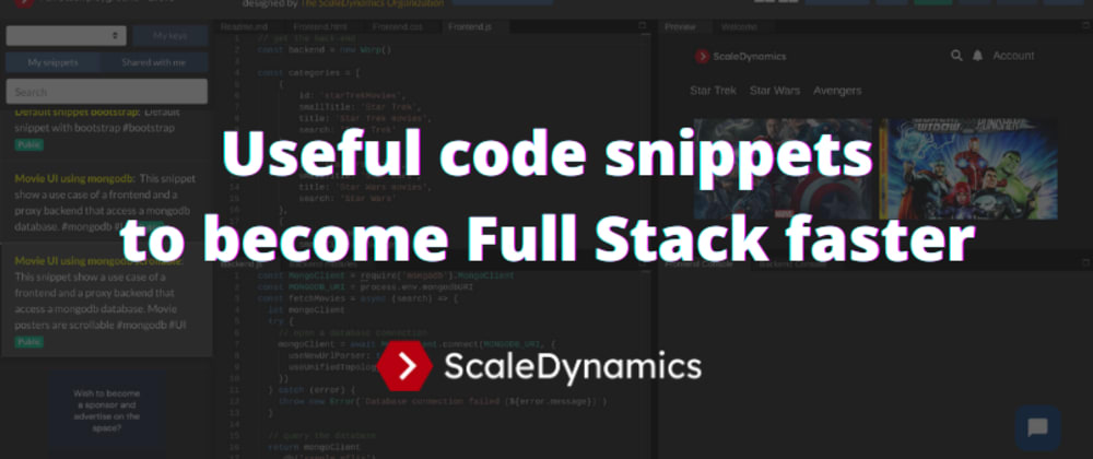 Cover image for Useful code snippets to become Full Stack faster 🚀